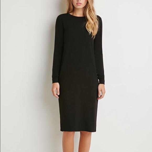 Robe noire coton hiver longueur midi