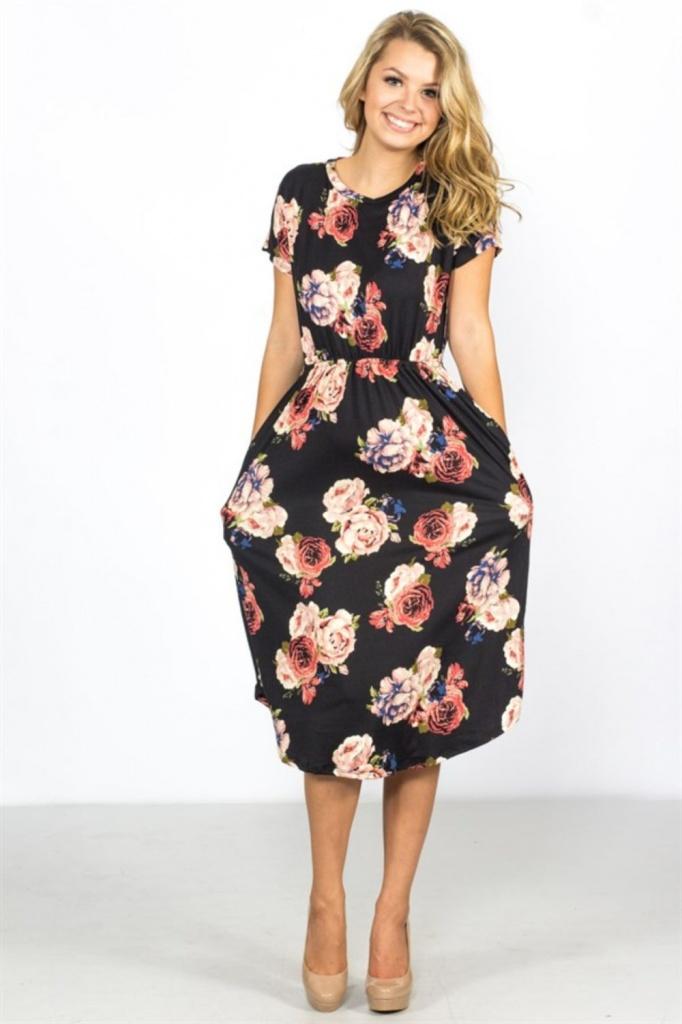 91c16d5f89a1 Robe noire manche courte mi longue ete a fleurs avec poches - la ...