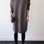 Robe pull grise mi longue hiver manche longue