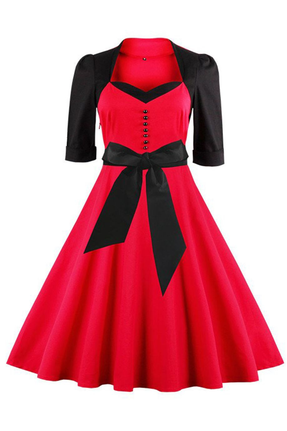 Robe rouge et noire mi longue evasee rockabilly