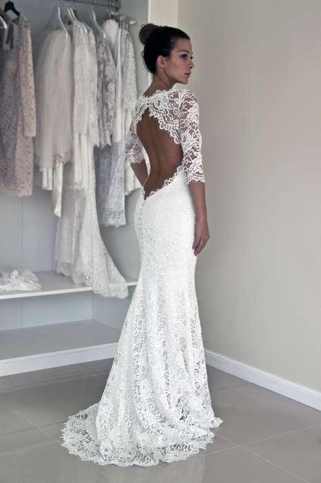 Belle robe longue dentelle mariage dos nu