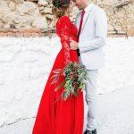 Divine robe dentelle longue rouge