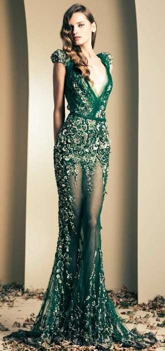 Ravissante robe dentelle longue verte toute en transparence