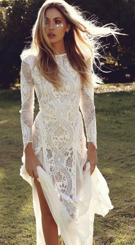Ravissante robe longue blanche dentelle boheme