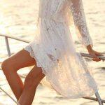 Robe dentelle blanche longue ete pour plage manche longue