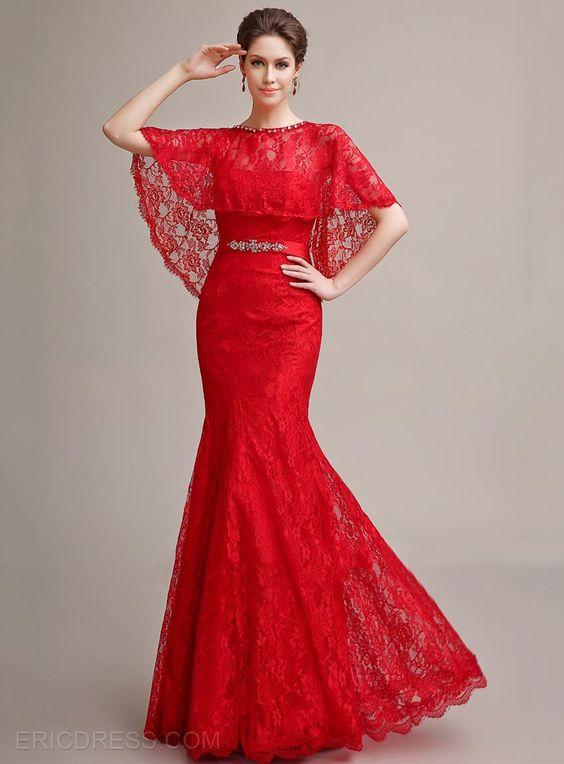 Robe dentelle longue rouge style flamenco