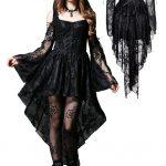 Robe gothique asymetrique longue dentelle noir