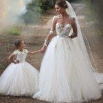Robe longue dentelle mariage bustier et demoiselle d honneur enfant