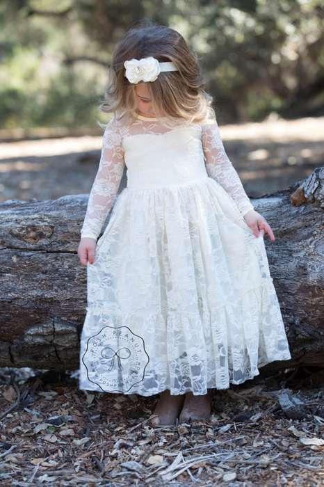 Robe longue dentelle mariage demoiselle d honneur petite fille