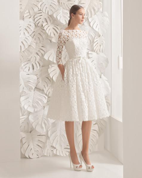 Robe mi longue dentelle pour mariage blanche