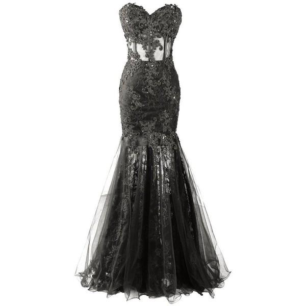 Robe noire bustier en dentelle longue taffetas