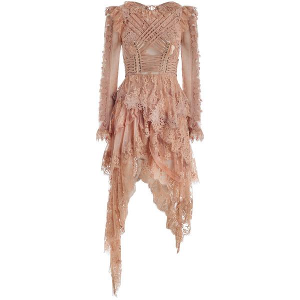 Robe originale vintage longue dentelle vieux rose asymetrique
