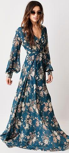 Belle maxi robe boheme manches longues bleu imprime floral
