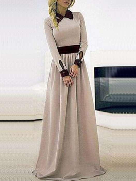 Maxi robe beige col chemise et manchette avec ceinture noires