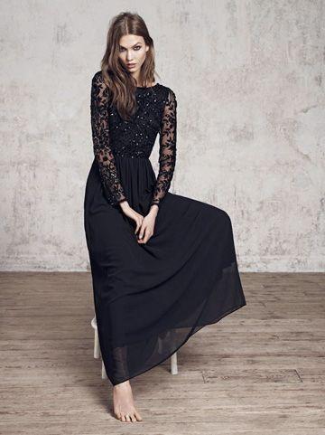 Maxi robe dentelle sur manches longues noire avec sequins pour soiree
