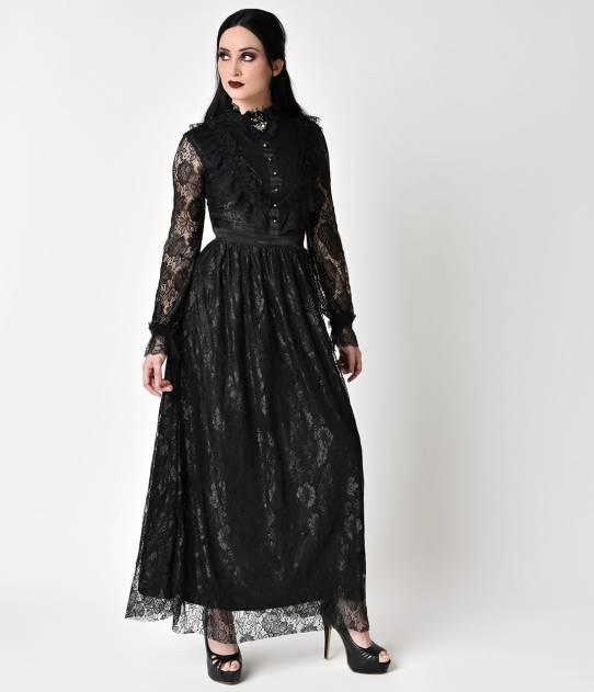 Maxi robe gothique dentelle noire avec full dentelle sur manches longues