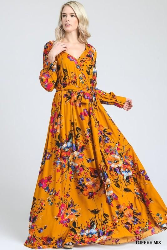 Maxi robe longue manche longue fleuri esprit boheme