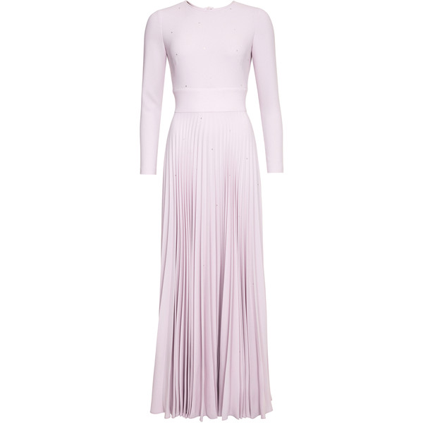 Maxi robe manches longues rose pastel