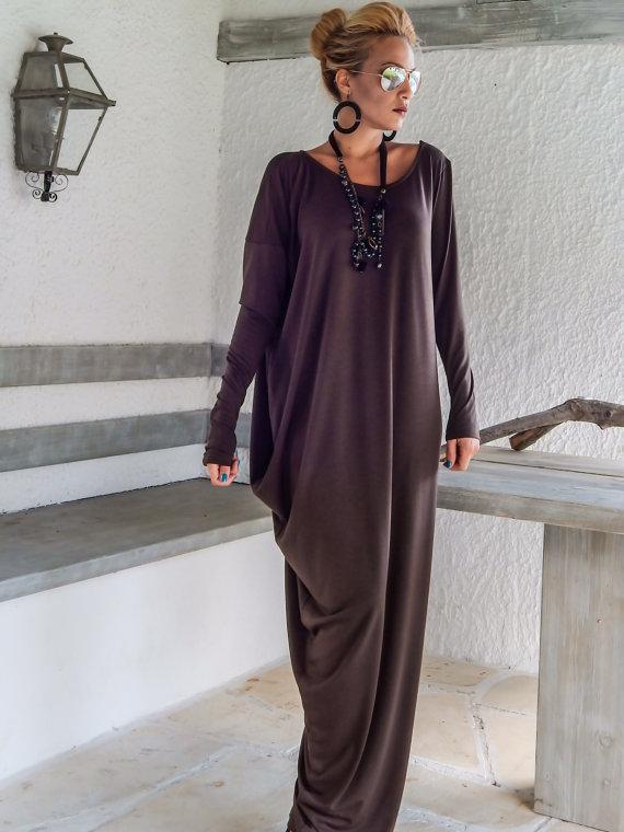 arrive 2019 meilleurs belle et charmante Robe ample longue manche longue couleur violine - la robe longue