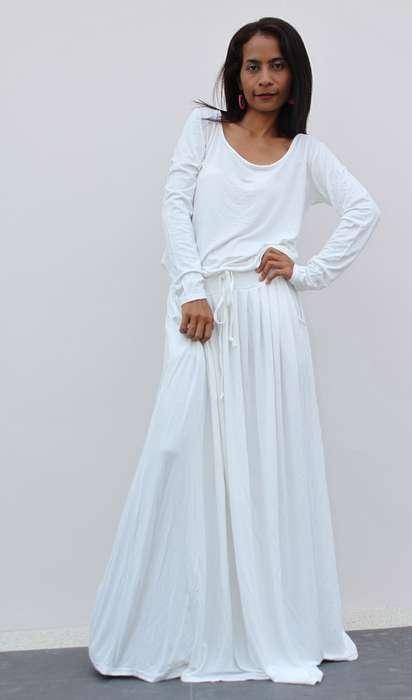 Robe ete blanche longue manche longue en coton