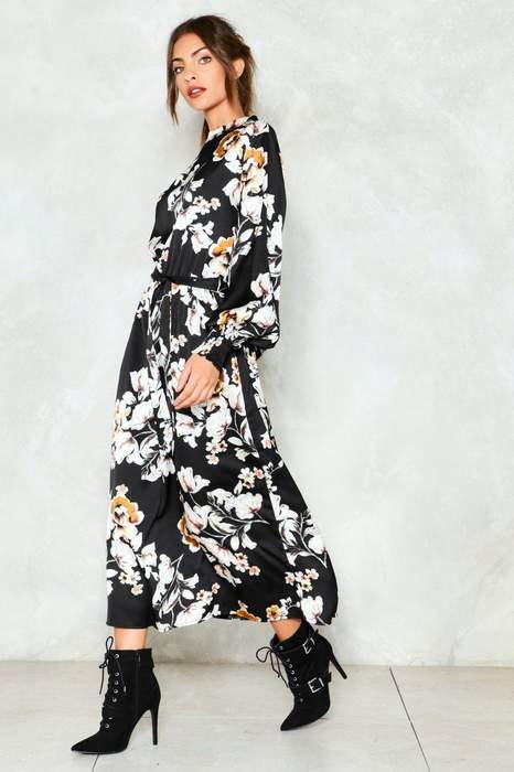 Robe hiver imprime floral noir et blanc a manche longue