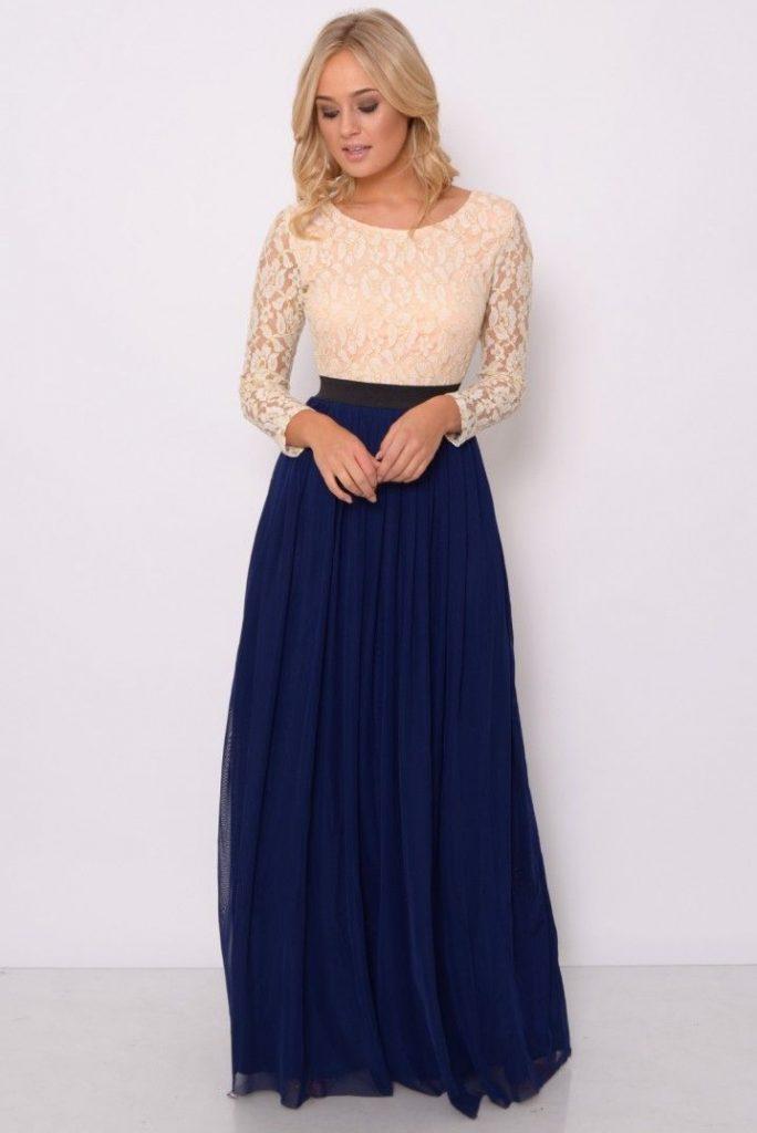 Robe longue bivolore bustier avec manche longue ecru dentelle et jupon bleu marine