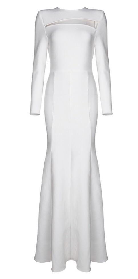 Robe longue blanche manche longue soiree moulante