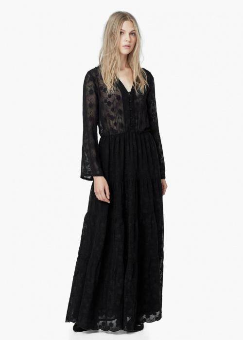 Robe longue dentelle noire avec manche longue a volant