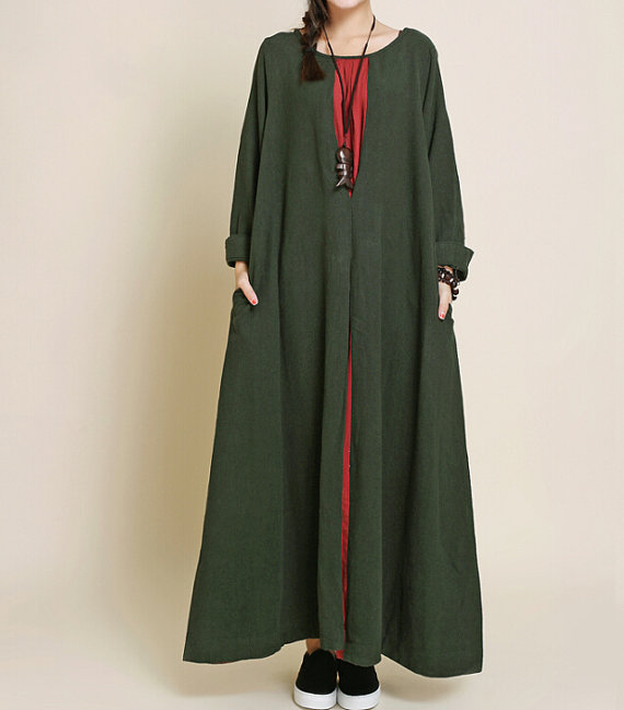 Robe longue e large kaki a manche longue coton