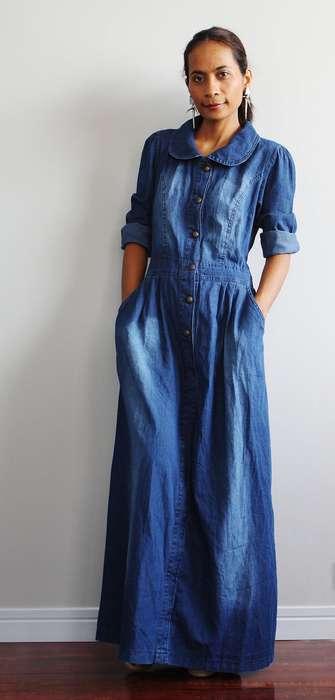 Robe longue en jean manches longues