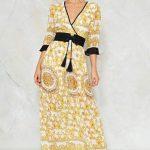 Robe longue esprit kimono jaune ceintre noire cache coeur