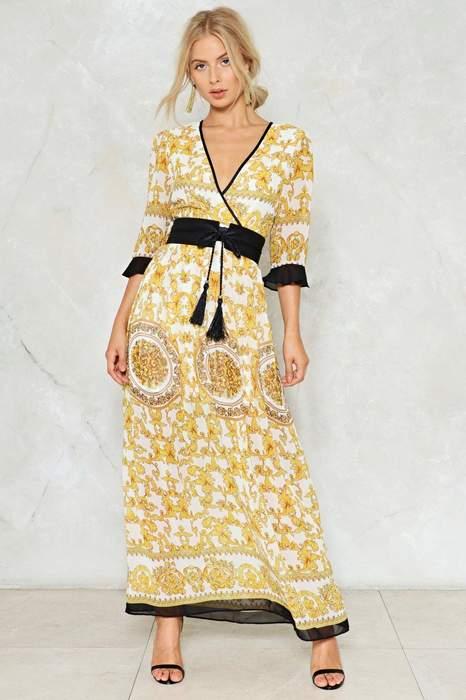 réel classé bons plans sur la mode site professionnel Robe longue esprit kimono jaune ceintre noire cache coeur ...
