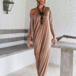 Robe longue ete beige avec manche longue tombante en coton
