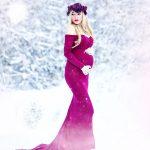 Robe longue femme enceinte epaules nues et manche longue rose