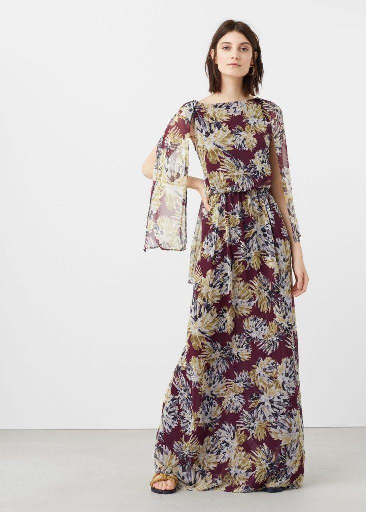 Robe longue imprime fleuri manche longue avec voile