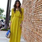 Robe longue jaune avec manche longue ete