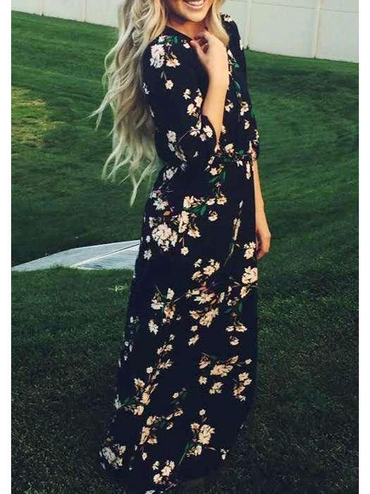 Robe longue noire fleurie ete manche longue