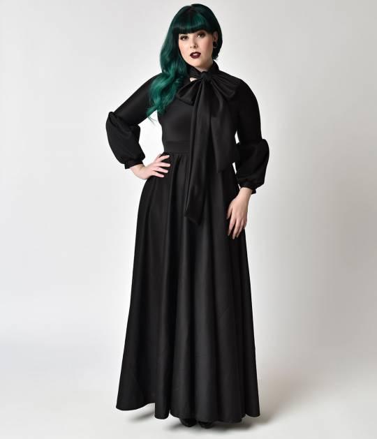 Robe longue noire noeud autour du cou gothique avec manche longue