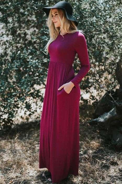 c44996756adc5 Robe longue pas cher bordeaux avec manche longue hiver - la robe longue