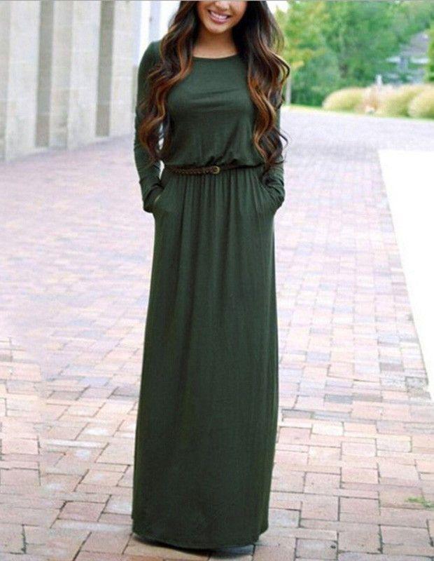 Robe longue pas cher verte foncee hiver avec manches longues et poches