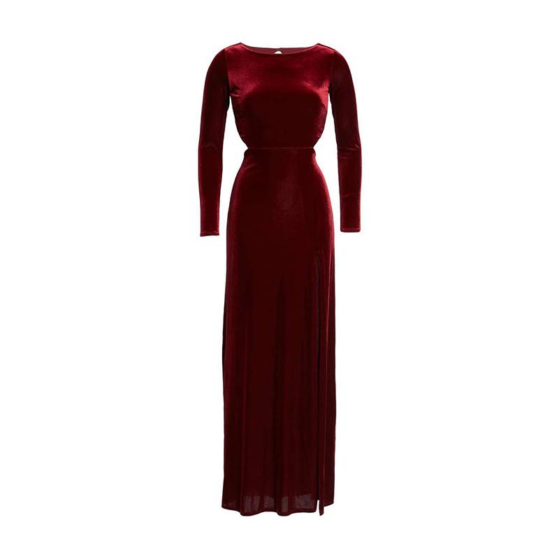 Robe longue rouge velour avec manche longue moulante