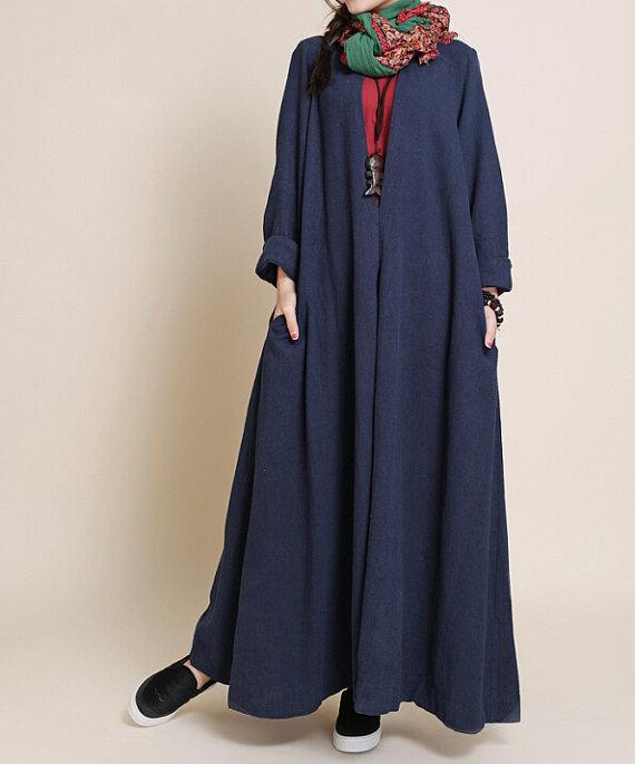 Robe longue tres large bleu marine en coton avec manche longue
