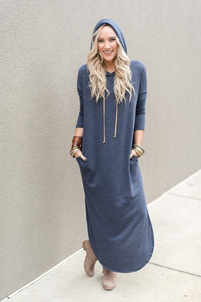 Robe manches longues casual pull bleu