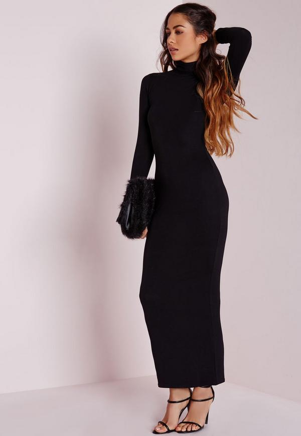 Robe moulante noire a col roule manches longues en coton hiver