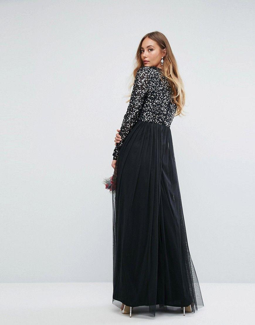 Robe noire longue soiree manche longue grise