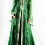 Robe orientale vert emeraude longue manche longue