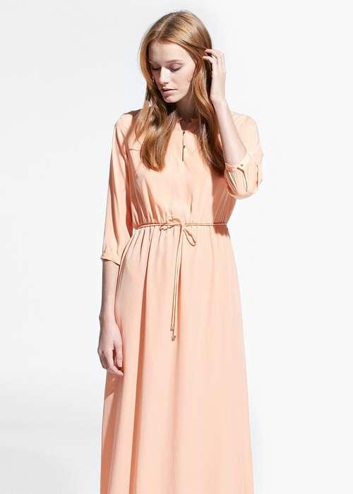Robe rose pale longue fine ceinture manche 3 quart