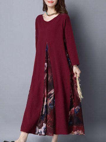 Robe rouge longue manche longue avec double jupon fleuri