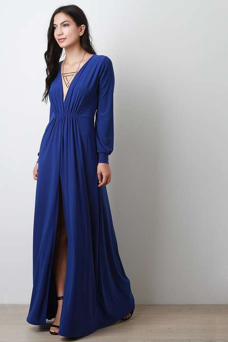 Robe soiree bleu echancree longue manche longue