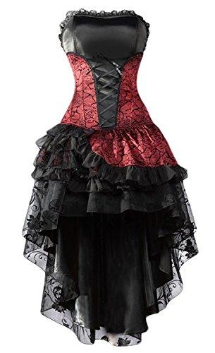 Esprrit gothique pour cette robe st valentin asymetrique noire et rouge dentelle froufrou